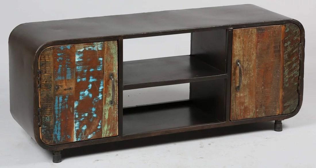 meuble tv en bois de recuperation industrial