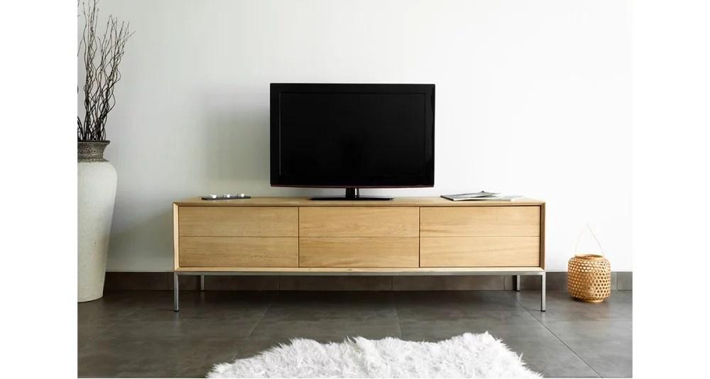 meuble tv chene massif 170 cm kimberley
