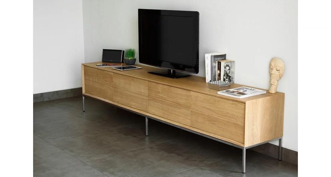 grand meuble tv 225 cm en chene massif