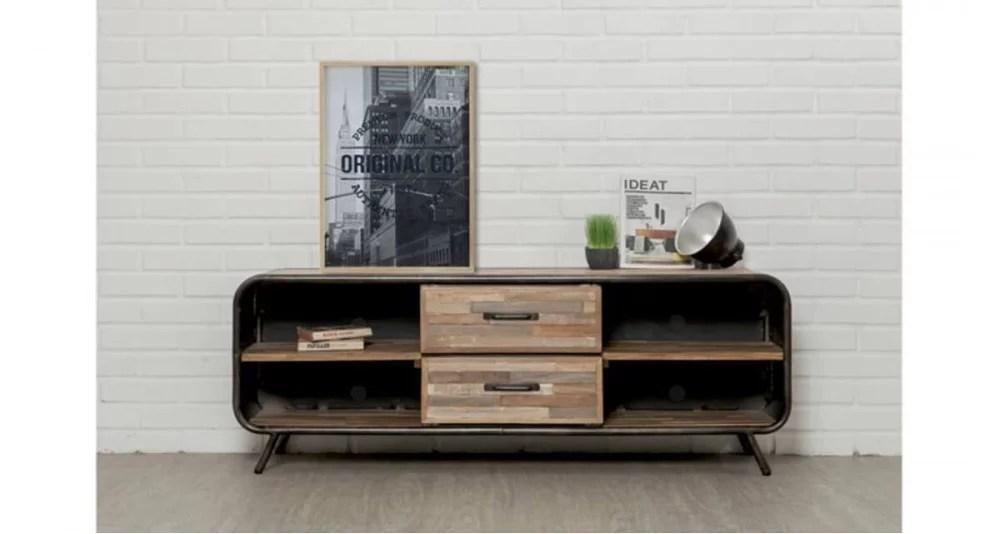 meuble tv 4 niches en teck recycle santiago