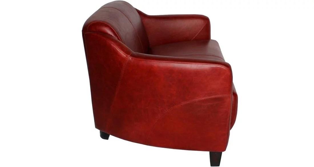 Canap club 2 places en cuir rouge pleine fleur Alabama
