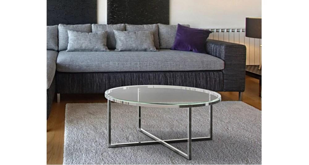 table basse ronde en verre pieds metal nyna 10 coloris