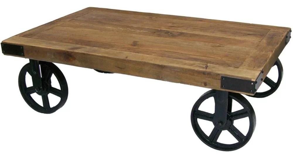 table basse industrielle a roues cedre