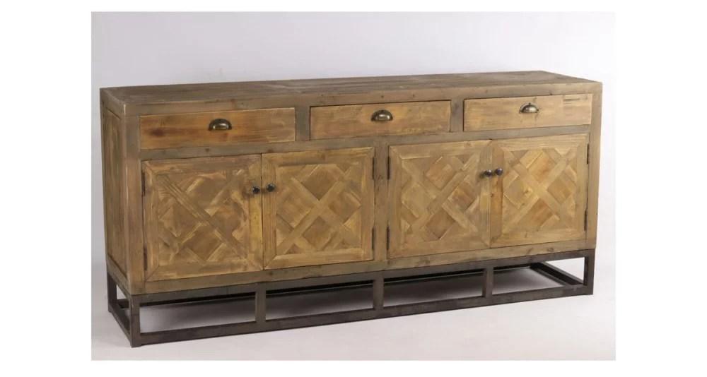 buffet industriel en vieux bois motif losanges bonanza