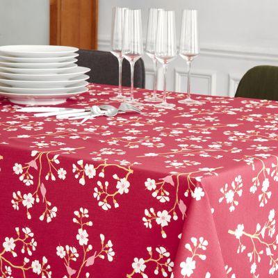 nappe cerisier bordeaux coton enduit non ourlee 120x120