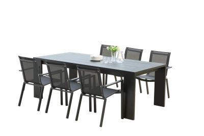 salon de jardin ibiza aluminium coloris noir 6 8 places 6 fauteuils