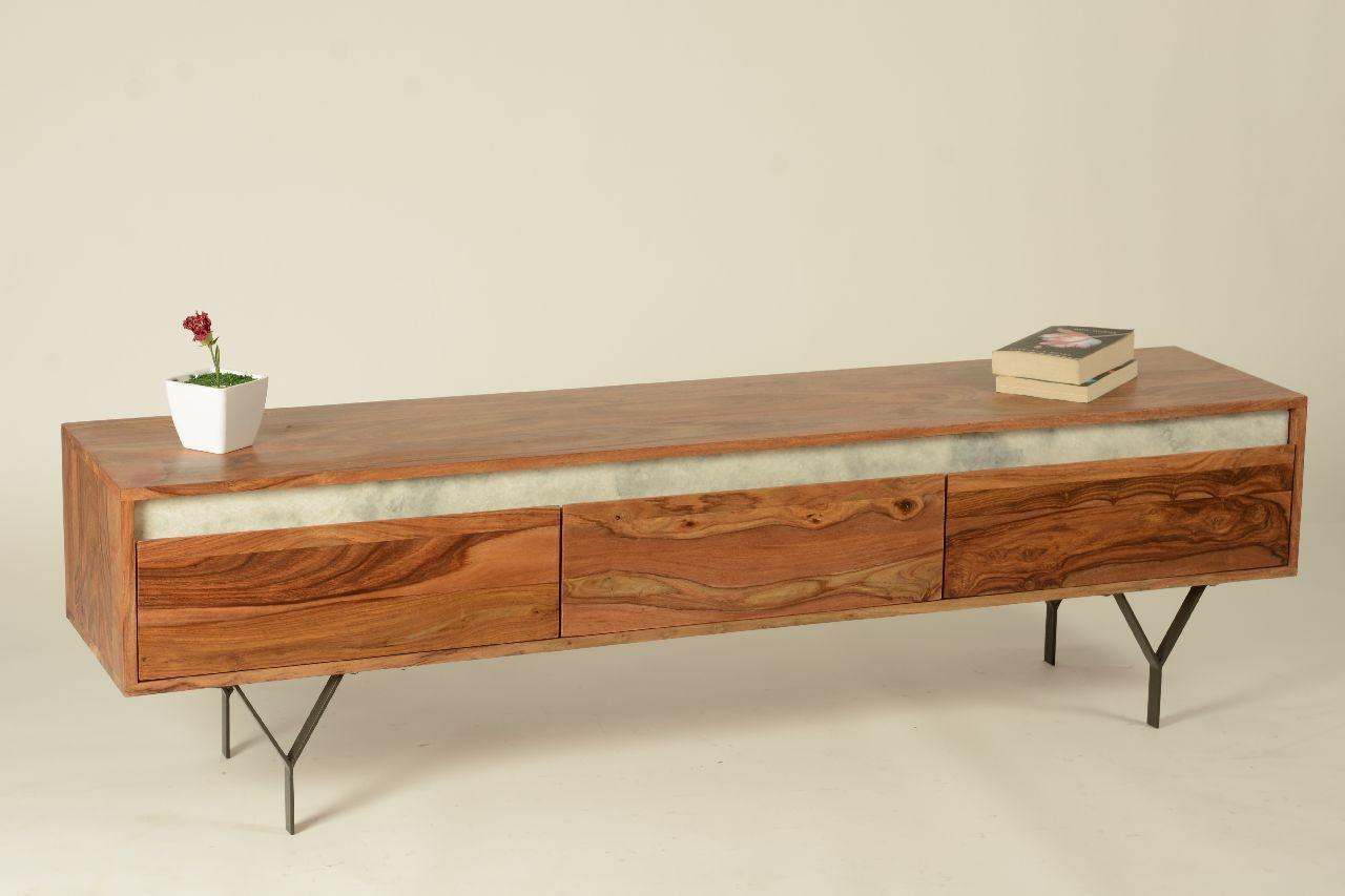meuble tv palissandre marbre metal 3 tiroirs l 160 cm