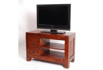meuble tv palissandre massif zen 2 tiroirs 2 etageres