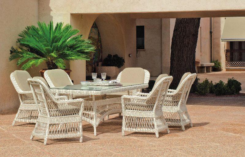 Salon de jardin table Hva Dubay rsine tresse blanc ivoire 6 places