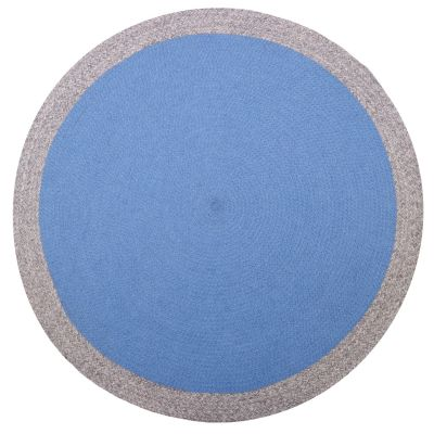 tapis enfant nolan tresse main laine melangee coloris bleu lin rond o120