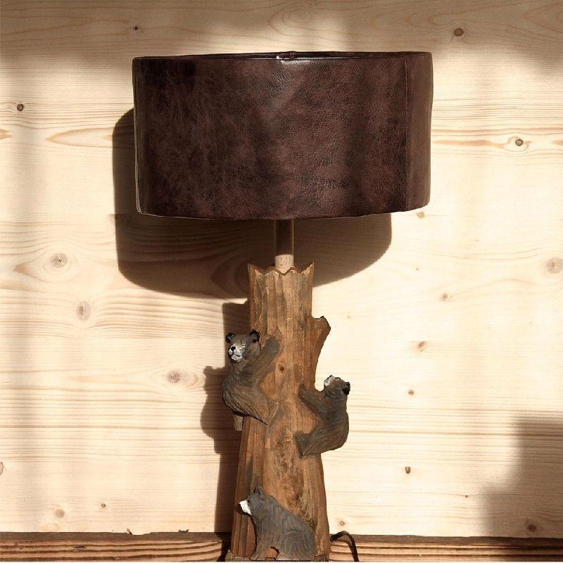pied de lampe bois sculpte trois petits ours