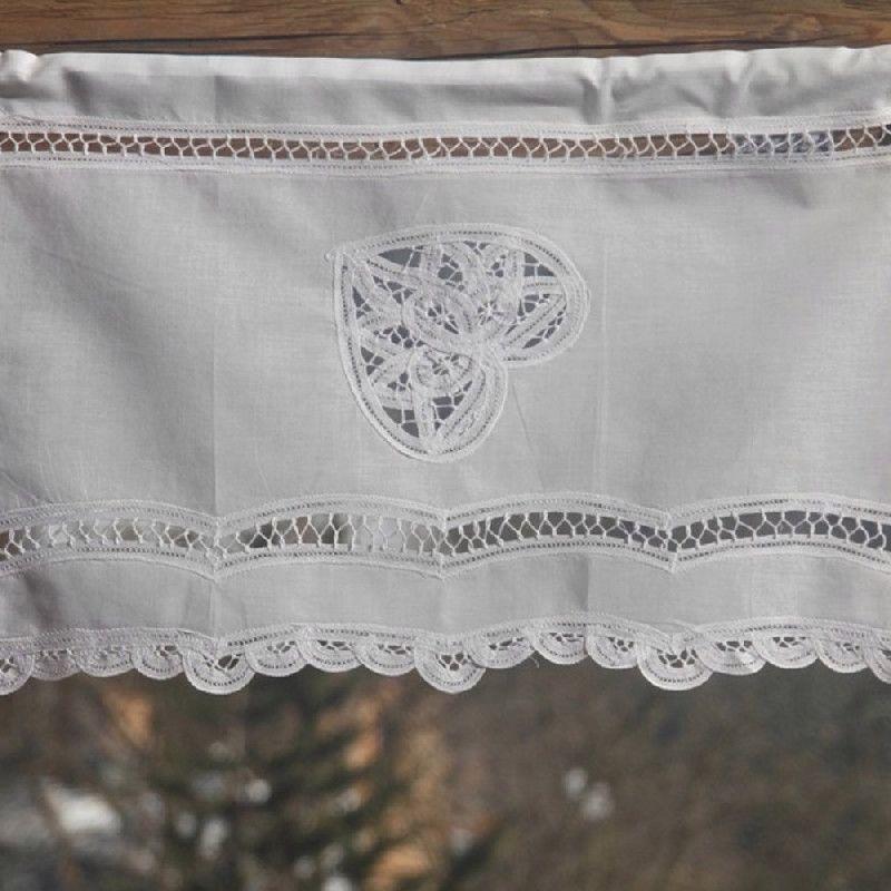 rideau brise bise blanc lace 1 coeur et dentelle coton
