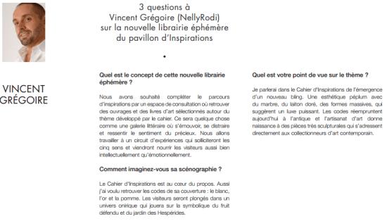 Vincent Grégoire Forum d'Inspirations Maison&Objet Paris Septembre 2015