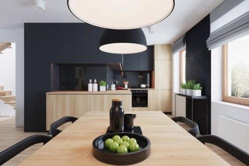 Déco cuisine noir blanc bois