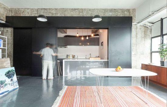Design pragmatique espaces caches loft Hong Kong