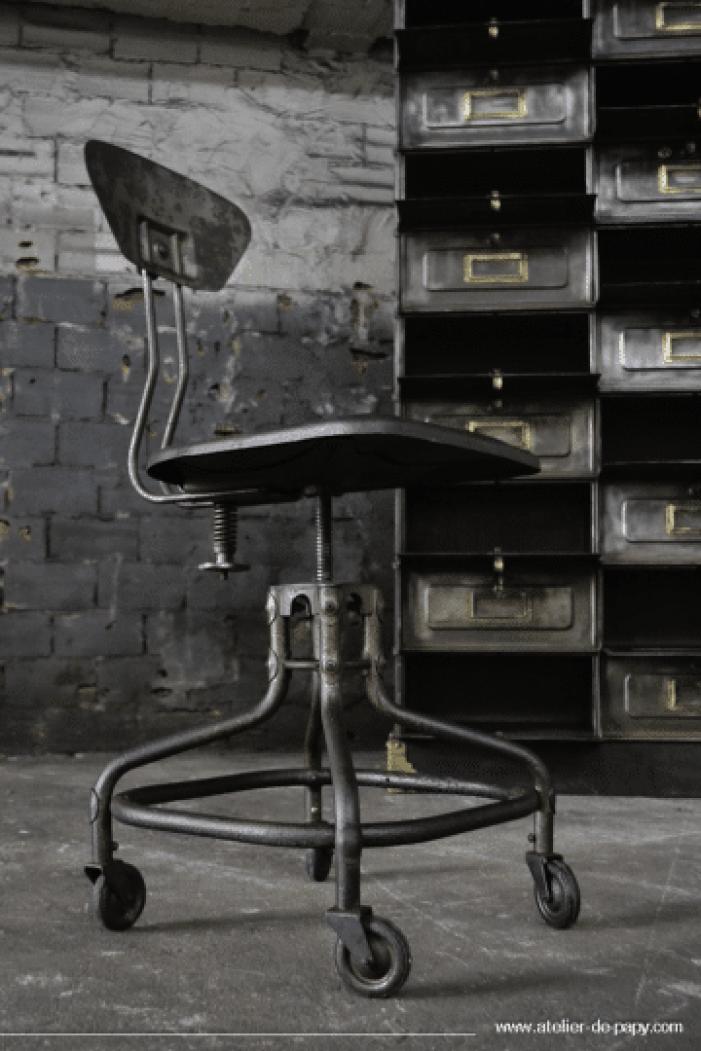 déco industrielle chaise d'atelier Flambo