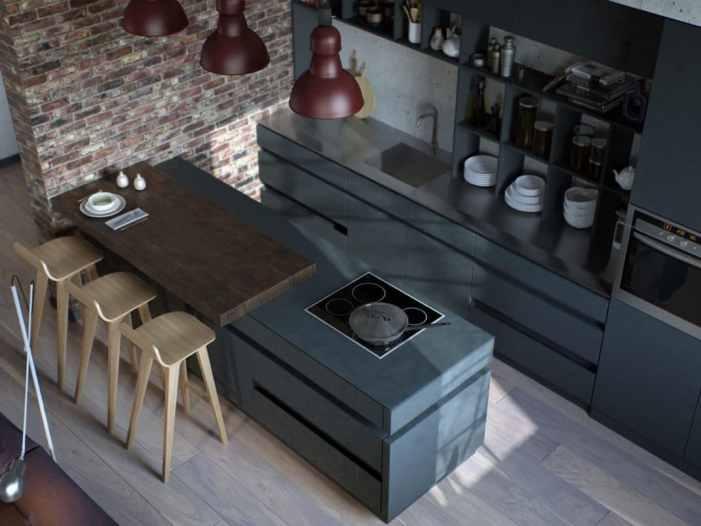 Des cuisines au style industriel à dominante grise