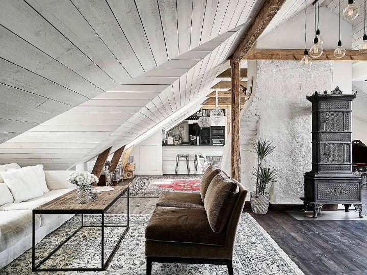 Une décoration scandinave classique pour la rénovation d'une ferme du 19e siècle