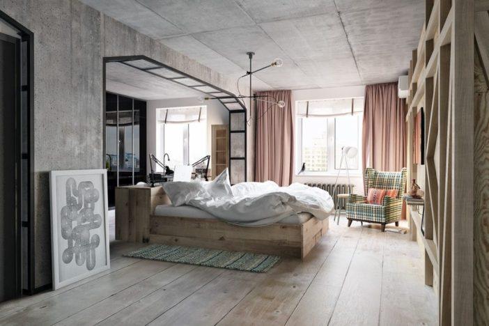Une chambre à la décoration industrielle doit avec des textures