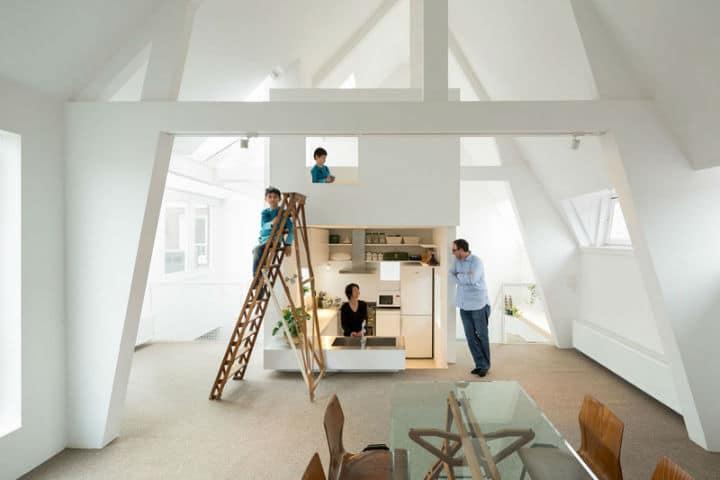 Un loft minimaliste pour y vivre en famille