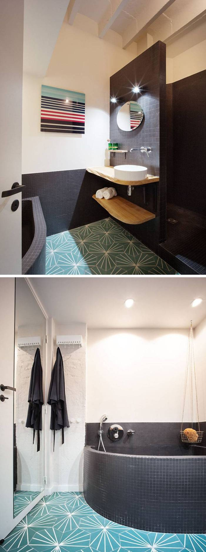 La salle de bain quand à elle est simple mais dispose d'une baignoire et d'une douche de belle dimension. Les carreaux colorés et à motifs ont été utilisés pour ajouter une certaine variété visuelle à l'espace.