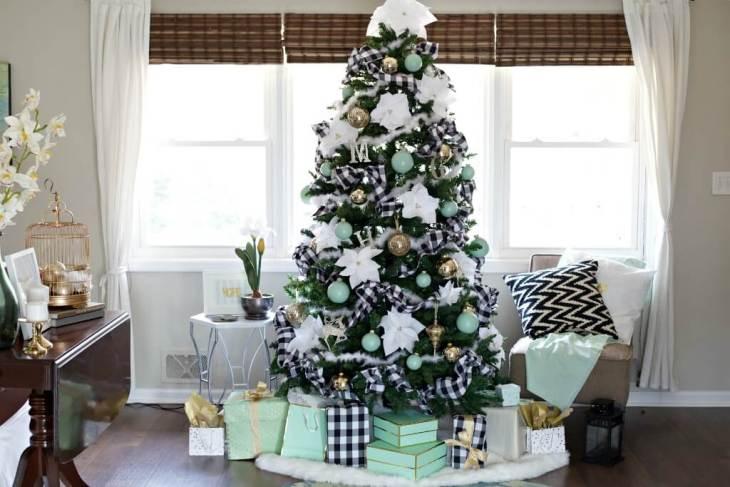 Décorations de sapins de Noëlles carreaux