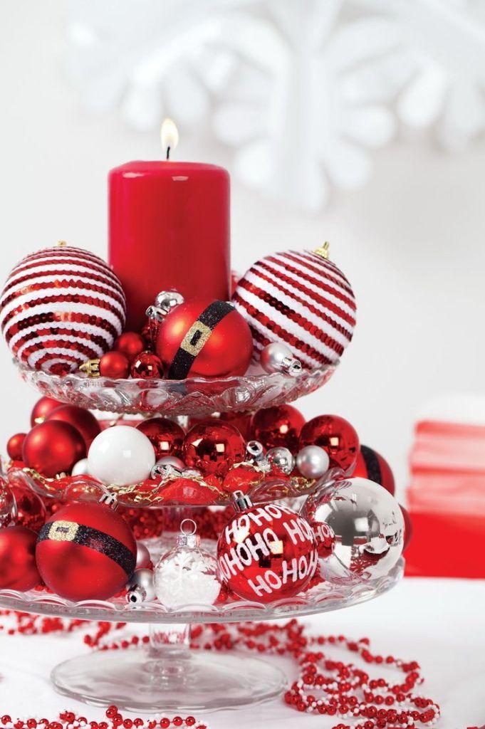 Centres de table de Noël: le verre