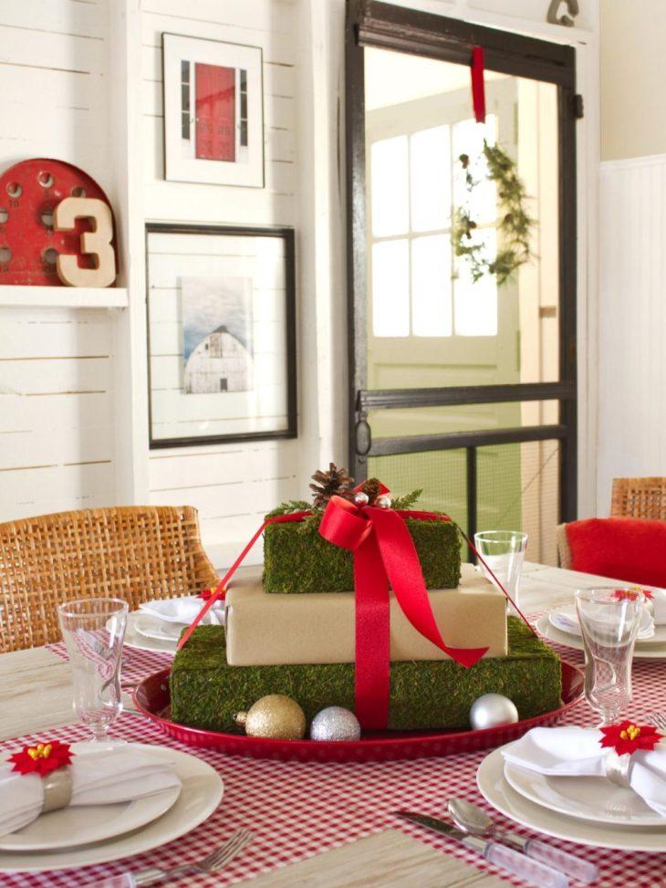 Centres de table de Noël: les cadeaux