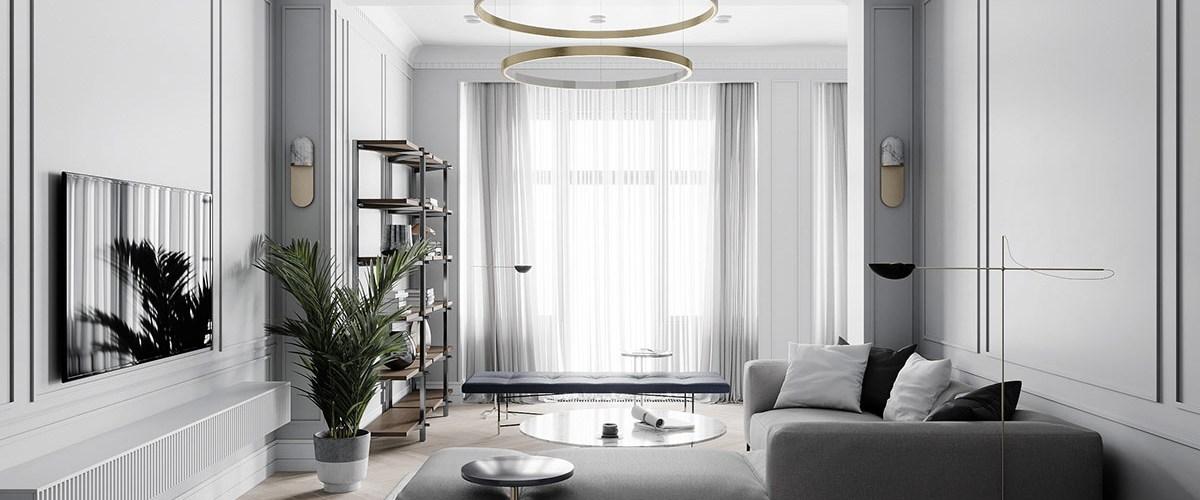 Une décoration d\'intérieur néoclassique à base de gris