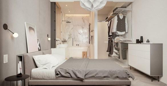 La chambre et la salle de bain