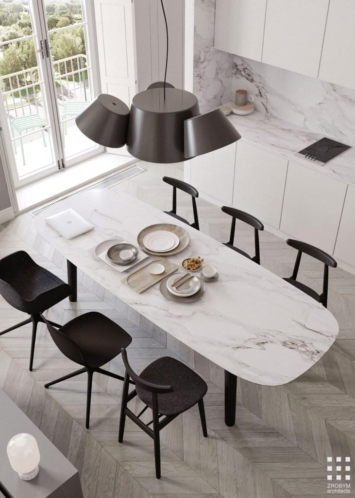Une cuisine en marbre