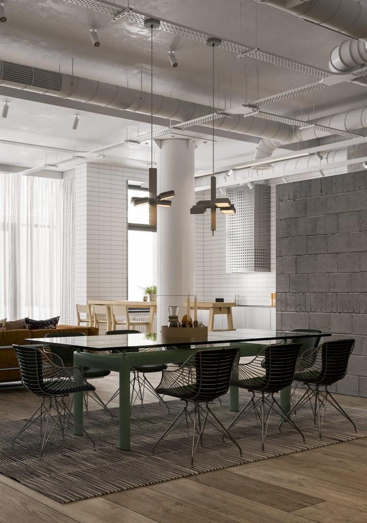 Une maison de style industriel avec une torsion colorée 3
