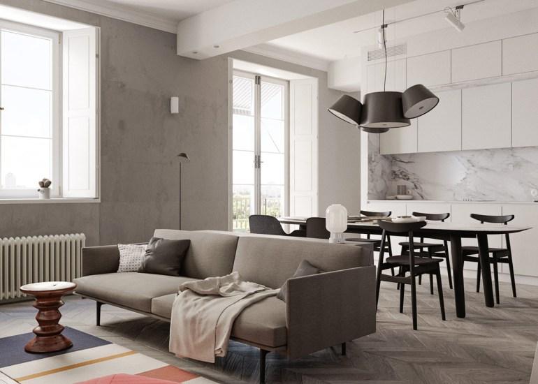 Une maison monochrome mais un salon vivant