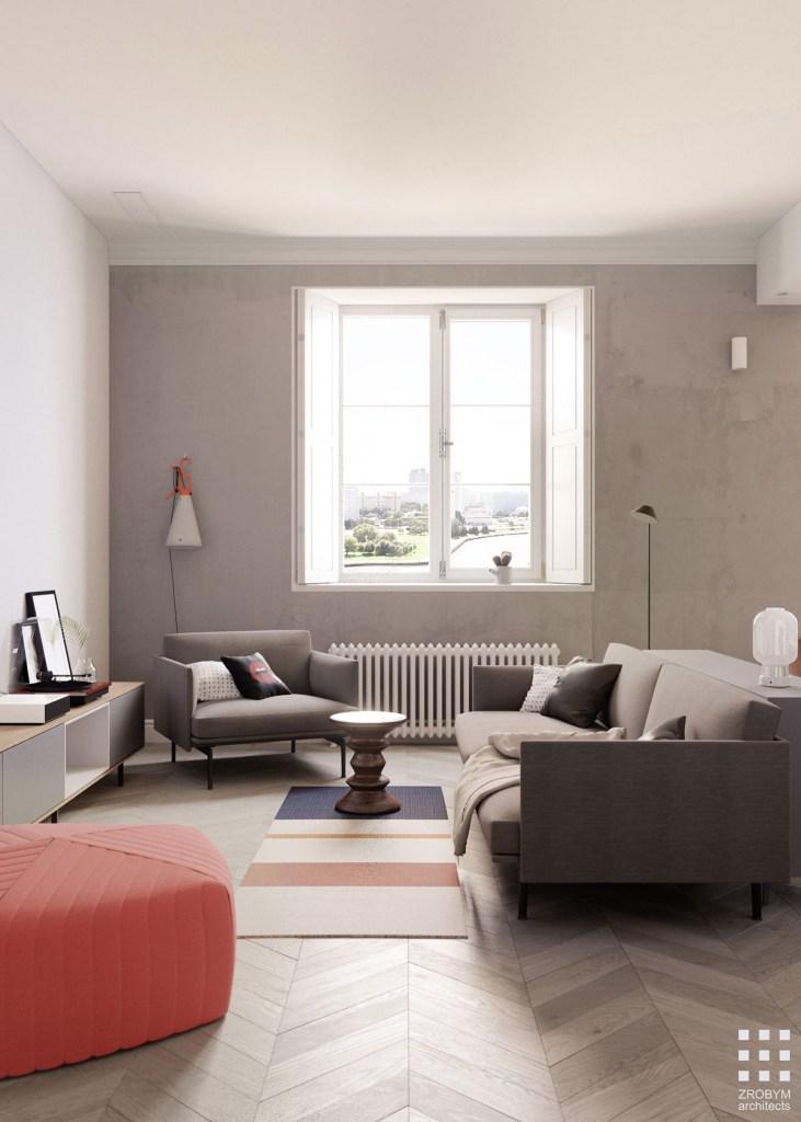 Une maison monochrome mais un salon vivant2