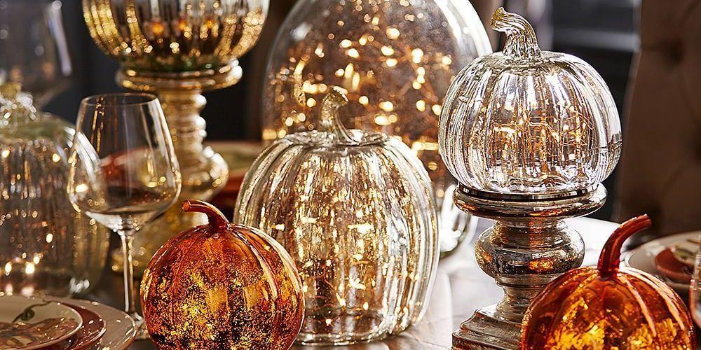 De citrouilles décoratives en verre