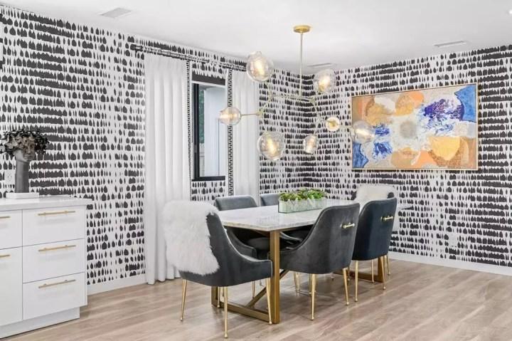 moderniser sa salle à manger papier peint à motifs