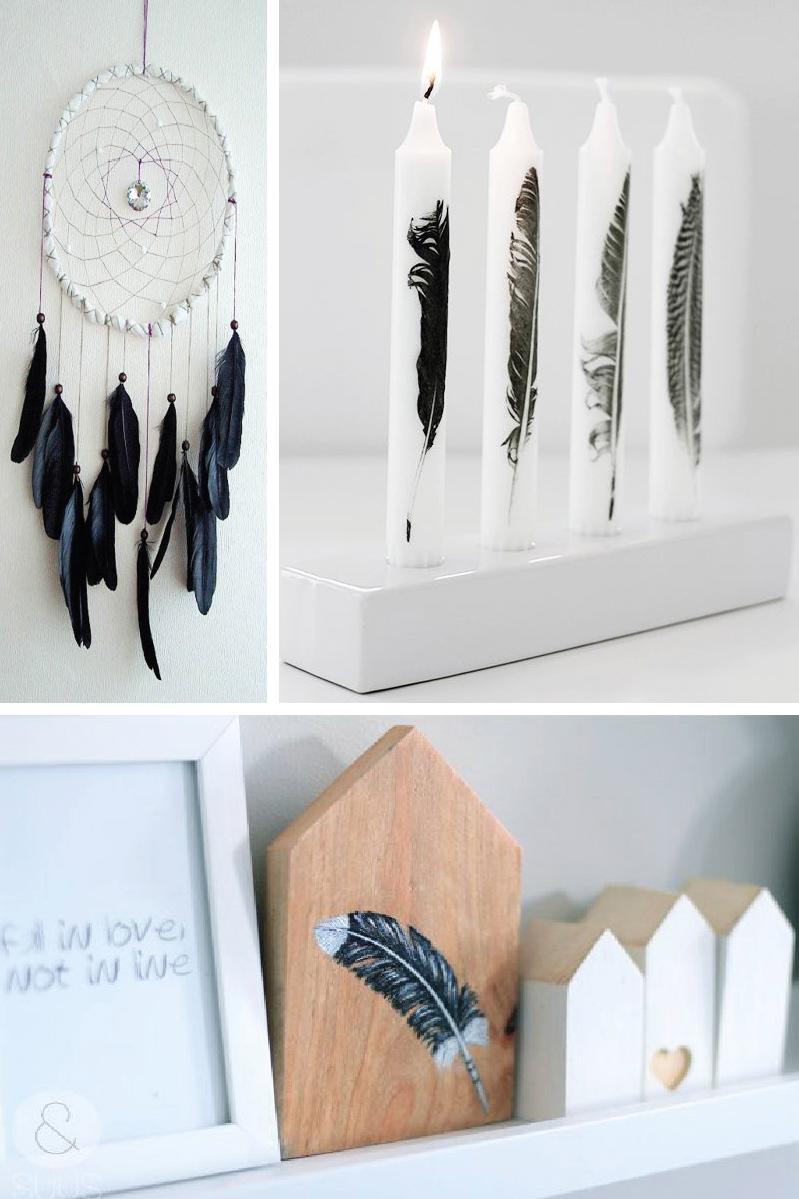Idées décor original; Comment décorer avec plumes; idées déco; maison déco; style; gypse décor; DIY; suspension avec plumes; décor noir et blanc; design; décoration contemporaine
