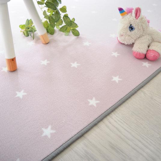 tapis sur mesure enfant etoiles rose