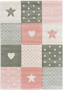 tapis enfant fille etoile et cœur rose pastel gris creme
