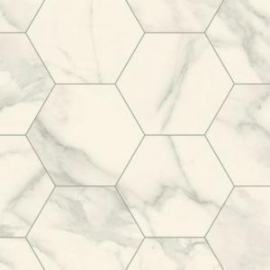 sol lino imitation carrelage hexagonal blanc marbre