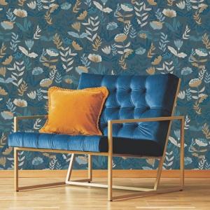 papier peint vinyle sur intisse botanique fleurs vintage sur fond bleu