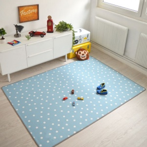 tapis chambre d enfant pois bleu