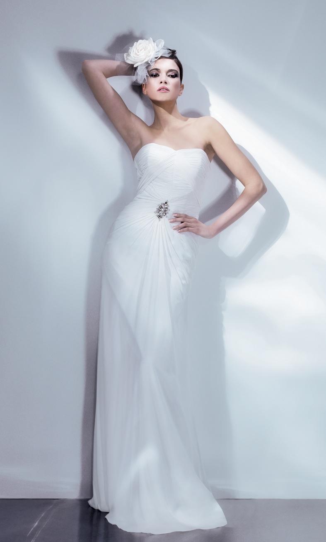 Chiffon Art Deco Wedding Gown by Bari Jay  Deco Weddings