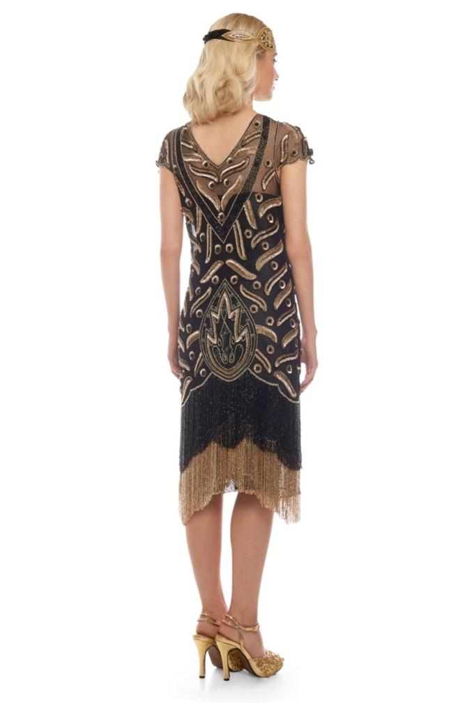 Black + Gold Fringed Flapper Dress | Vegas | Deco Shop