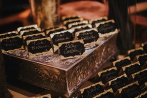 Glitter Gold + Black Placecards