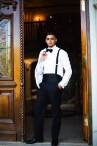 Groom in Suspenders + White Jacket