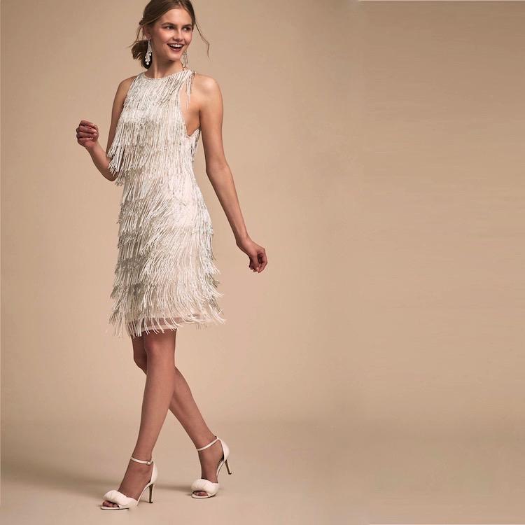 Ivory + Silver Fringed Flapper Dress | Deco Shop