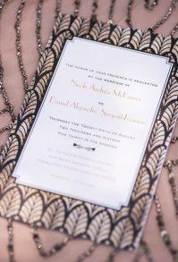Pink and Black Art Deco Wedding Invitation