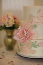 Pink + Green Floral Art Nouveau Cake