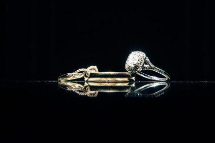 Silver + Gold Art Deco Wedding Rings